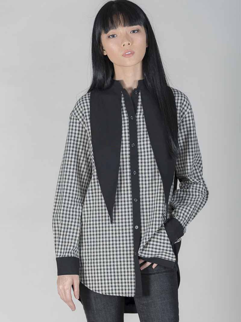 Checkered Long Sleeve Shirt with Black Collar