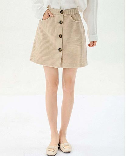 Corduroy High-Waist A-line Mini Skirt