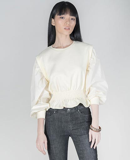 Long-Sleeve Smocked Top with Cuffed Sleeves