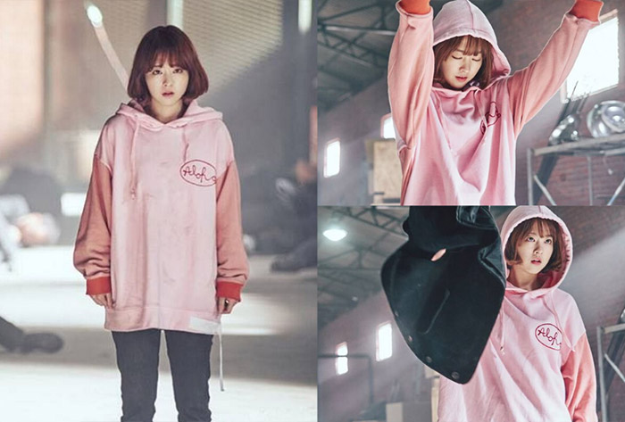 Park Bo Young in oversized pink hoodies
