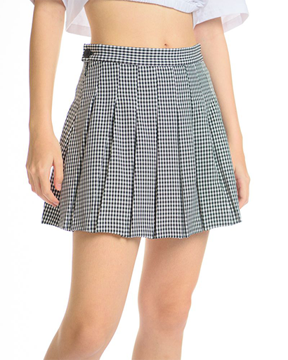 High Waisted Mini-Check Pleated Skirt in Black
