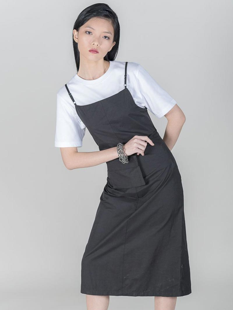 Square Neckline Dress with Slit Front and Waist Pouch