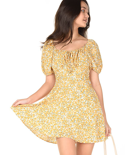 Square Neck Floral Puff Sleeve Dress