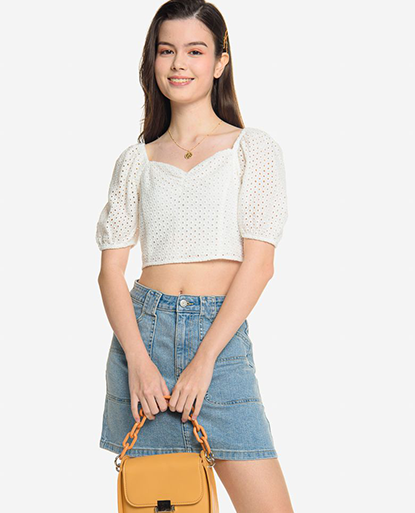 Square Neck Puff Sleeve Crop Top with Scrunched Chest Detail