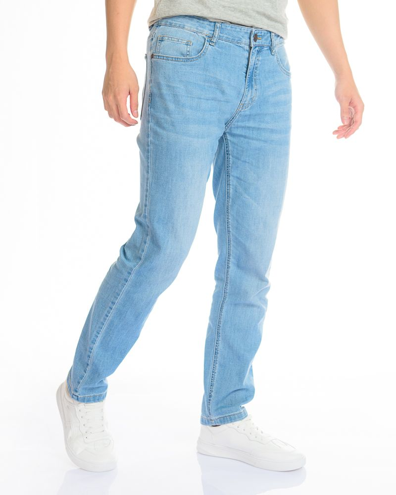 Men Basic Low Waisted Denim Jeans in Sky Blue