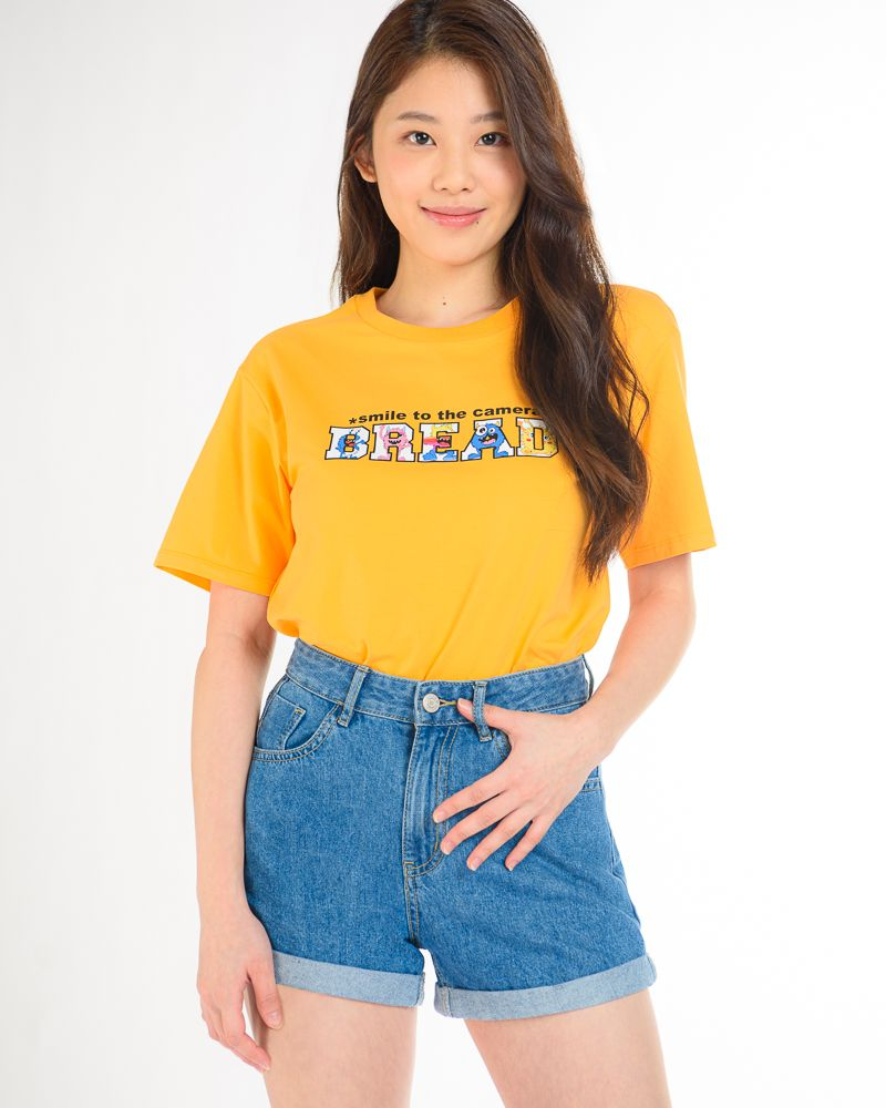 Short Sleeve T-Shirt with Bread Monster Graphic (Orange)