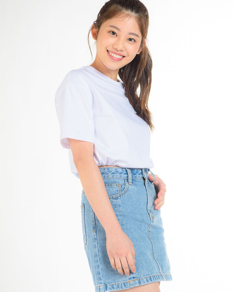 """Short Sleeve Cropped T-Shirt with """"VOUCHSAFE"""" Slogan (White)"""
