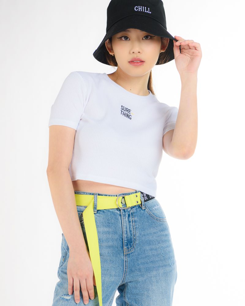 Short Sleeve Cropped T-Shirt with Embroidered Slogan (White)