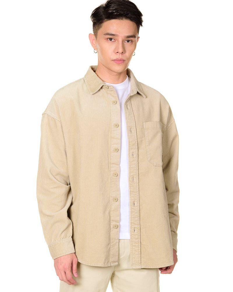 Oversized Corduroy Long Sleeve Shirt in Almond