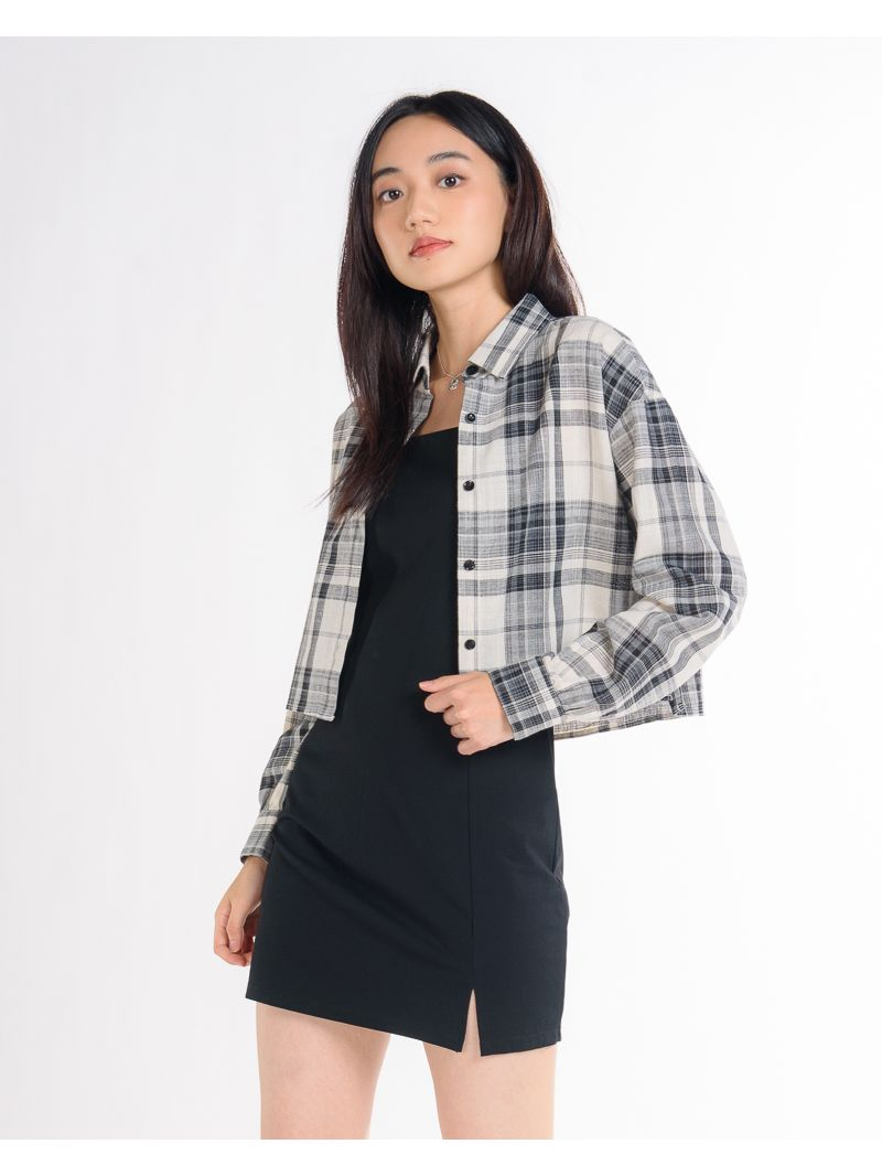 Long Sleeve Cropped Button Up Plaid Blouse