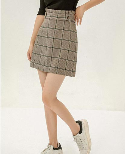 High Waisted Plaid Paper Bag Skirt