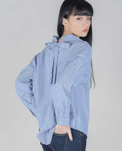 Oversized Striped Shirt with Tie Detail on Back Collar