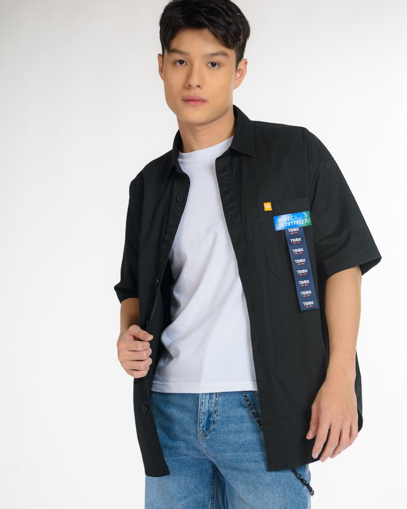 Oversized Black Button Up Shirt with Blue Label